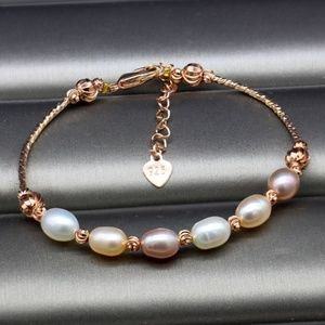 Jewelry - Gold and Freshwater Pearl Multi-color Bracelet
